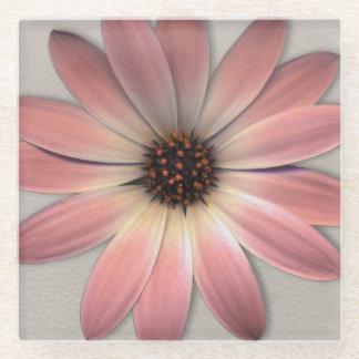 ピンクのデイジー-ミンクの革質のイメージの背景 ガラスコースター