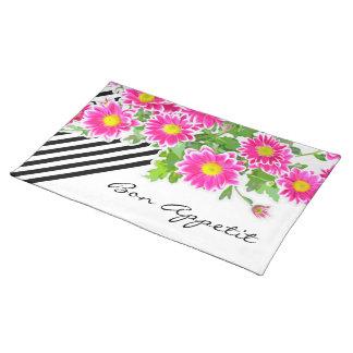 ピンクのデイジー/星状体の花束 + あなたのアイディア ランチョンマット
