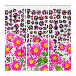 ピンクのデイジー/星状体の花束/点 + あなたのアイディア トリプティカ