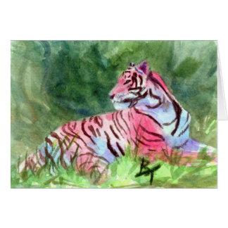 ピンクのトラの空白のなカード カード