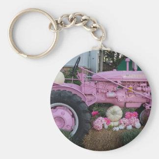 ピンクのトラクター ベーシック丸型缶キーホルダー
