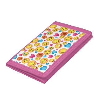 ピンクのトリムが付いている白い財布のEmojiのかわいいプリント ナイロン三つ折りウォレット