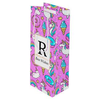 ピンクのドーナツのアイスクリームのユニコーン ワインギフトバッグ