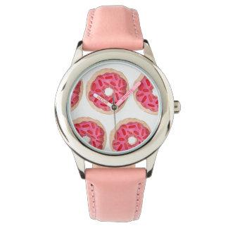 ピンクのドーナツの子供の腕時計 腕時計