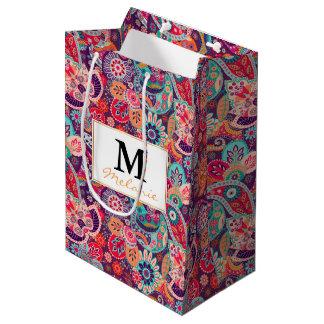 ピンクのネオンペイズリーの花柄パターン ミディアムペーパーバッグ