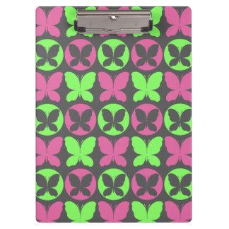 ピンクのネオン緑の灰色の蝶蝶パターン クリップボード