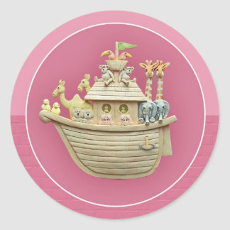 ピンクのノアの箱舟 ラウンドシール