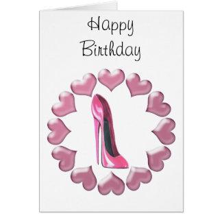 ピンクのハイヒールの小剣の靴の芸術及びハート グリーティングカード