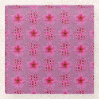 ピンクのハイビスカスによってはコースターが開花します ガラスコースター