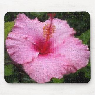 ピンクのハイビスカスのモンタージュ マウスパッド