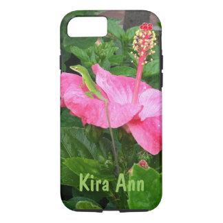 ピンクのハイビスカスの写真のAnoleの緑のトカゲ iPhone 8/7ケース