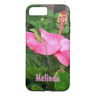 ピンクのハイビスカスの写真のAnoleの緑のトカゲ iPhone 8 Plus/7 Plusケース
