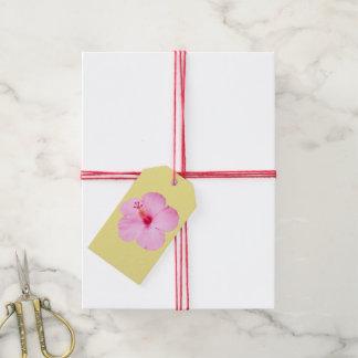 ピンクのハイビスカスの熱帯花 ギフトタグ