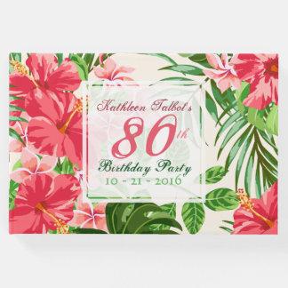 ピンクのハイビスカスの第80誕生会の来客名簿 ゲストブック