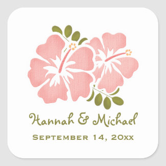 ピンクのハイビスカスの結婚式の引き出物のステッカーのシール スクエアシール