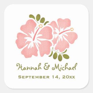 ピンクのハイビスカスの結婚式の引き出物のステッカーのシール 正方形シール