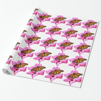 ピンクのハイビスカスの花のマダラチョウ ラッピングペーパー