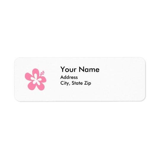 ピンクのハイビスカスの花の住所シール 返信用宛名ラベル