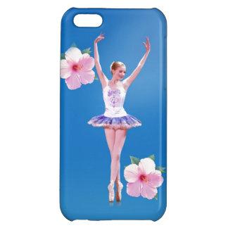 ピンクのハイビスカスの花を持つバレリーナ iPhone5Cケース