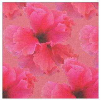 ピンクのハイビスカスの花柄の生地 ファブリック