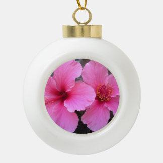 ピンクのハイビスカスの花 セラミックボールオーナメント