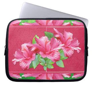 ピンクのハイビスカスの電子工学のバッグ ラップトップスリーブ