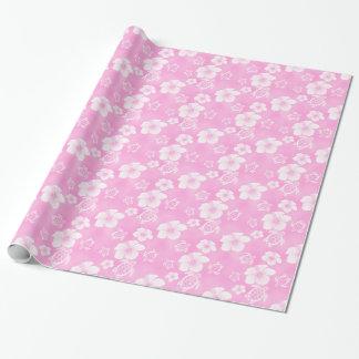 ピンクのハイビスカスのHonuのハワイアンパターン ラッピングペーパー
