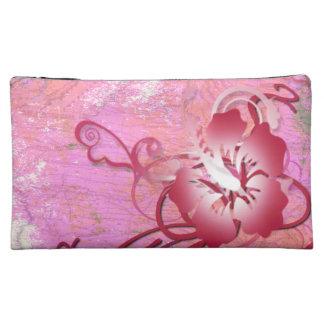 ピンクのハイビスカス コスメティックバッグ