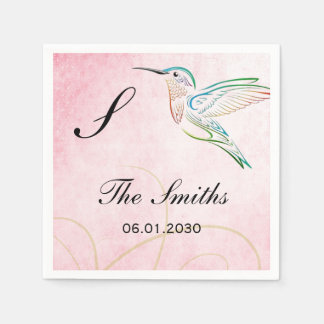 ピンクのハチドリの水彩画の結婚式 スタンダードカクテルナプキン