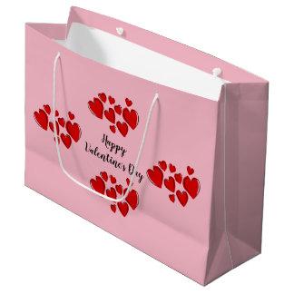 ピンクのハッピーバレンタインデー ラージペーパーバッグ