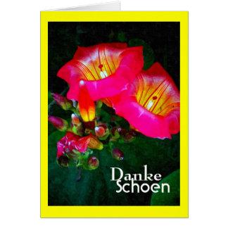ピンクのハワイの鐘花、ドイツ語、Danke カード