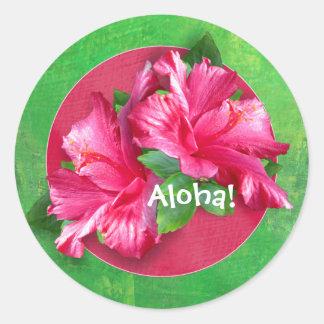 ピンクのハワイアンのアロハハイビスカスのステッカー ラウンドシール