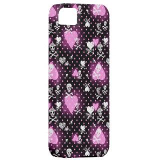 ピンクのハートおよびスカルパターン iPhone SE/5/5s ケース