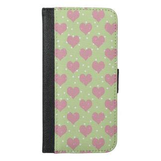 ピンクのハートおよび白い水玉模様 iPhone 6/6S PLUS ウォレットケース