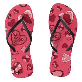 ピンクのハートおよび花のビーチサンダル ビーチサンダル
