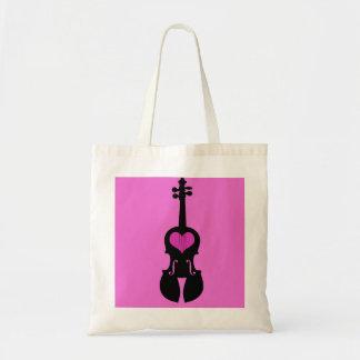 ピンクのハートのバイオリンのトートバック トートバッグ