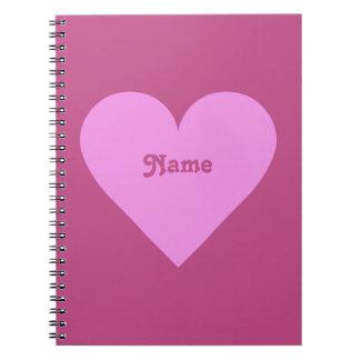 ピンクのハートのバレンタインのカスタムのノート ノートブック