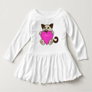 ピンクのハートのバレンタインデーのシャム猫 ドレス