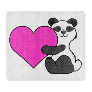 ピンクのハートのバレンタインデーのパンダくま カッティングボード