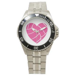 ピンクのハートのバレーボールの腕時計 腕時計