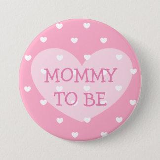 ピンクのハートのベビーシャワーボタンがあるお母さん 7.6CM 丸型バッジ