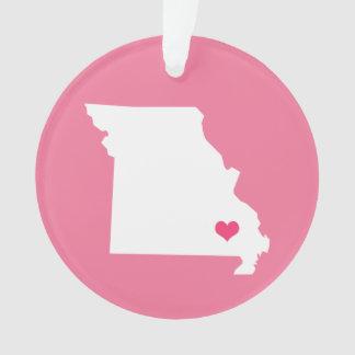 ピンクのハートのミズーリの故郷の州 オーナメント