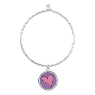ピンクのハートの円形の低下のチャームの銀の腕輪のブレスレット バングルブレスレット