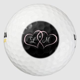 ピンクのハートの名前入りなゴルフ・ボール ゴルフボール