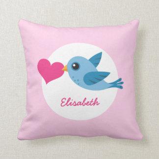 ピンクのハートの名前入りな一流の青い愛鳥 クッション