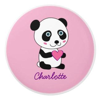 ピンクのハートの名前入りな名前のかわいいパンダ セラミックノブ