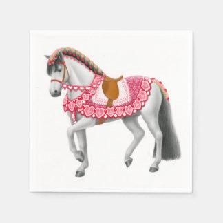 ピンクのハートの回転木馬の馬のナプキン スタンダードカクテルナプキン