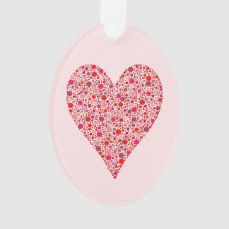 ピンクのハートの形の深紅色の水玉模様 オーナメント