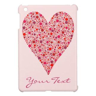 ピンクのハートの形の深紅色の水玉模様 iPad MINI CASE