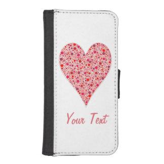 ピンクのハートの形の深紅色の水玉模様 iPhoneSE/5/5sウォレットケース